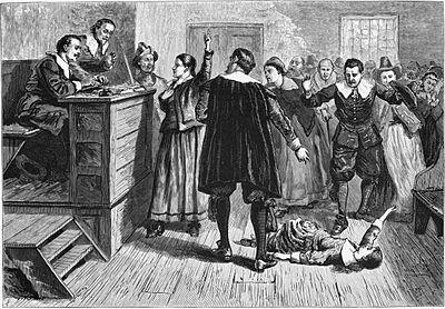 Una stampa che raffigura il processo alle streghe di Salem