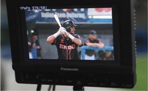 La partita vista dal monitor di un cameraman
