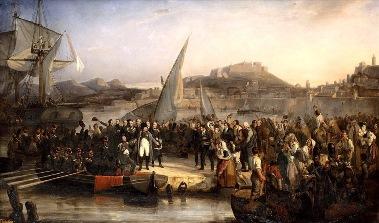 Napoleone all'Isola d'Elba in un dipinto dell'epoca