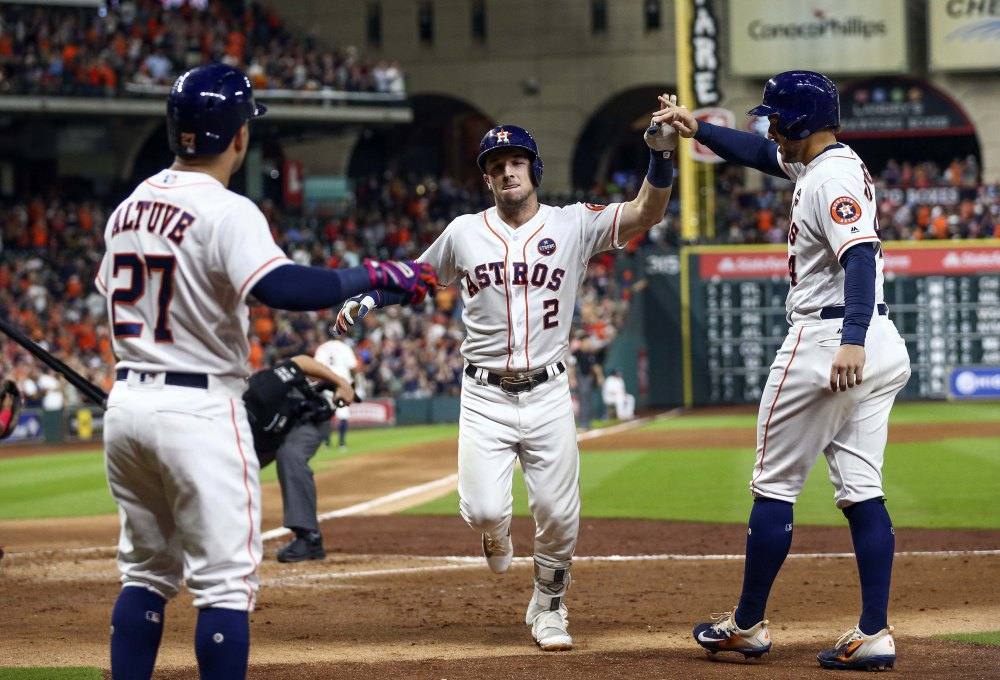 Houston Astros celebrate a home run